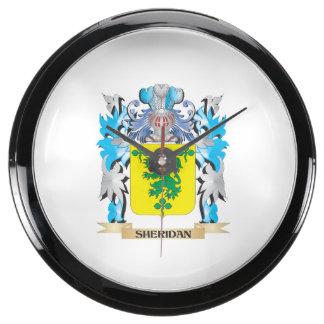 Escudo de armas de Sheridan - escudo de la familia Reloj Aqua Clock