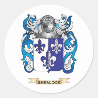 Escudo de armas de Sherlock (escudo de la familia) Pegatina Redonda