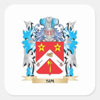 Escudo de armas de Sim - escudo de la familia Calcomanía Cuadrada Personalizada