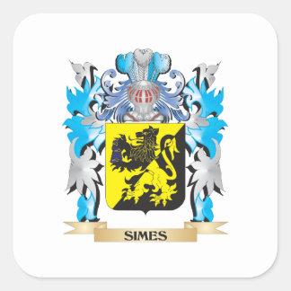 Escudo de armas de Simes - escudo de la familia Colcomanias Cuadradass