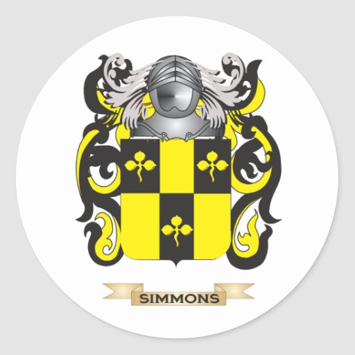 Escudo de armas de Simmons (escudo de la familia) Etiquetas Redondas