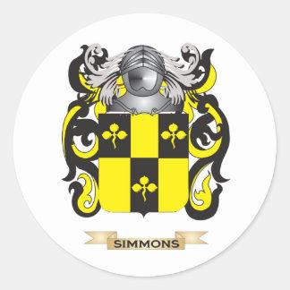 Escudo de armas de Simmons (escudo de la familia) Pegatina Redonda