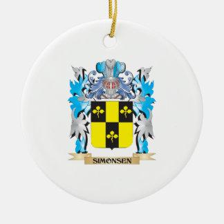 Escudo de armas de Simonsen - escudo de la familia Adorno Navideño Redondo De Cerámica