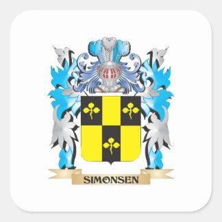 Escudo de armas de Simonsen - escudo de la familia Pegatina Cuadrada