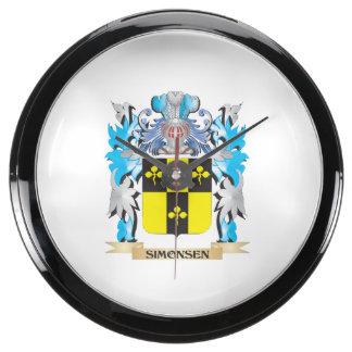 Escudo de armas de Simonsen - escudo de la familia Reloj Pecera