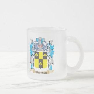 Escudo de armas de Simonsen - escudo de la familia Taza Cristal Mate