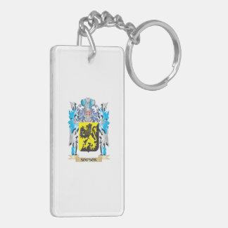 Escudo de armas de Simpson - escudo de la familia Llavero Rectangular Acrílico A Doble Cara