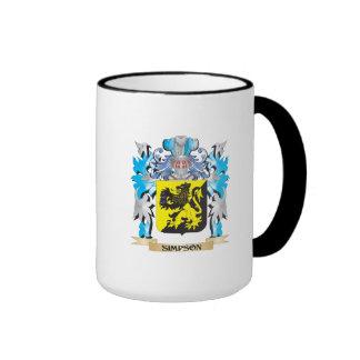 Escudo de armas de Simpson - escudo de la familia Taza De Dos Colores