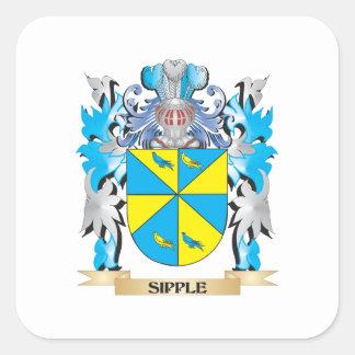 Escudo de armas de Sipple - escudo de la familia Pegatina Cuadrada