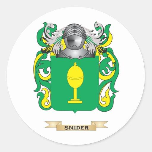 Escudo de armas de Snider (escudo de la familia) Etiqueta Redonda