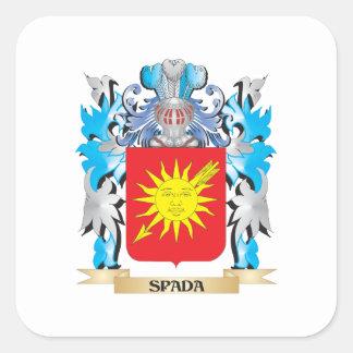Escudo de armas de Spada - escudo de la familia Pegatina Cuadrada