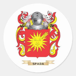 Escudo de armas de Spada (escudo de la familia) Pegatina Redonda