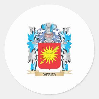 Escudo de armas de Spada - escudo de la familia Pegatina Redonda