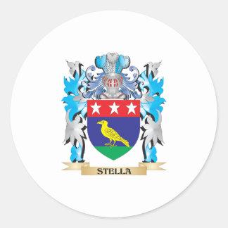 Escudo de armas de Stella - escudo de la familia Pegatina Redonda
