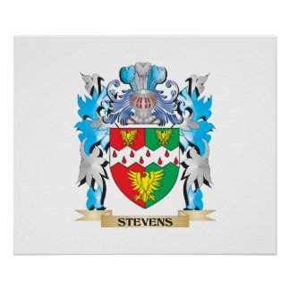 Escudo de armas de Stevens - escudo de la familia Póster