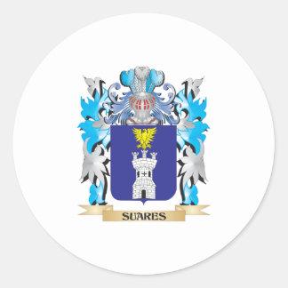 Escudo de armas de Suares - escudo de la familia Etiquetas Redondas
