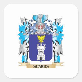 Escudo de armas de Suares - escudo de la familia Calcomanías Cuadradas Personalizadas