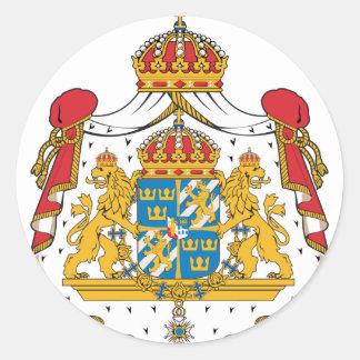 Escudo de armas de Suecia Pegatina Redonda