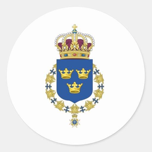Escudo de armas de Suecia Etiquetas Redondas