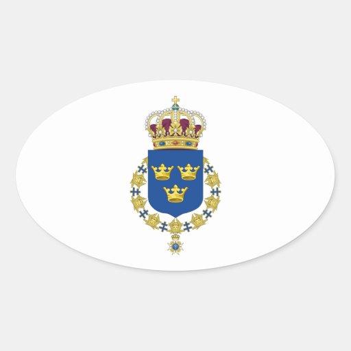 Escudo de armas de Suecia Pegatinas Óvales