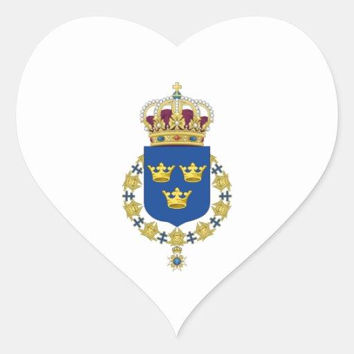 Escudo de armas de Suecia Calcomanía Corazón Personalizadas