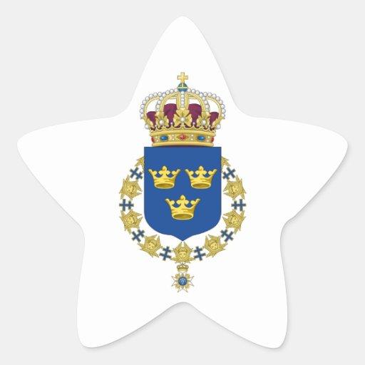 Escudo de armas de Suecia Calcomanías Forma De Estrella