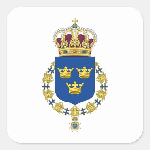 Escudo de armas de Suecia Calcomania Cuadrada Personalizada