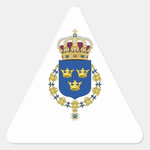 Escudo de armas de Suecia Calcomanías De Triangulos Personalizadas