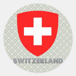 Escudo de armas de Suiza Pegatina Redonda
