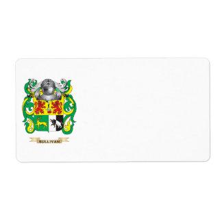 Escudo de armas de Sullivan (escudo de la familia) Etiqueta De Envío