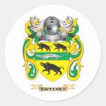 Escudo de armas de Sweeney (escudo de la familia) Pegatina Redonda