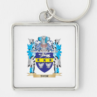 Escudo de armas de Syer - escudo de la familia Llavero Cuadrado Plateado