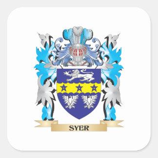 Escudo de armas de Syer - escudo de la familia Pegatina Cuadrada
