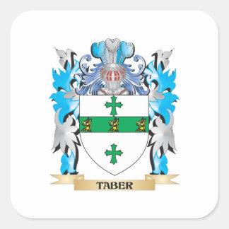 Escudo de armas de Taber - escudo de la familia Calcomanías Cuadradas Personalizadas