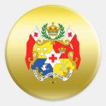 Escudo de armas de Tonga Pegatina Redonda