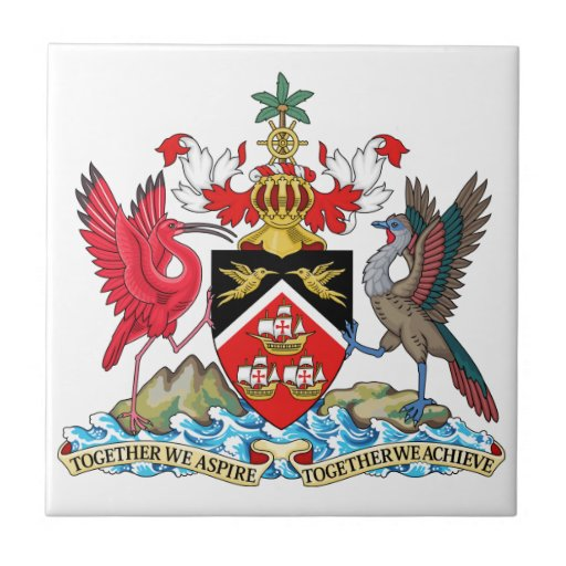 Escudo de armas de Trinidad and Tobago Azulejo Cuadrado Pequeño