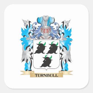 Escudo de armas de Turnbull - escudo de la familia Calcomanías Cuadradass