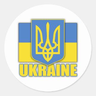 Escudo de armas de Ucrania Pegatina Redonda