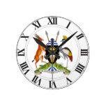 Escudo de armas de Uganda Reloj De Pared