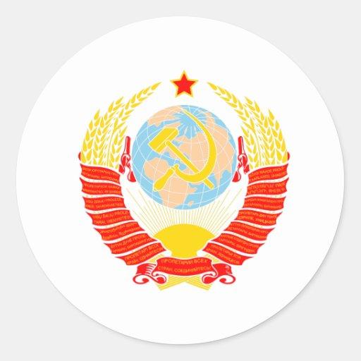 Escudo de armas de Unión Soviética Pegatinas Redondas