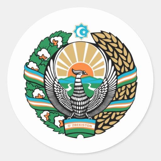 Escudo de armas de Uzbekistán Pegatina Redonda