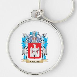 Escudo de armas de Valleri - escudo de la familia Llavero Redondo Plateado