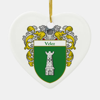 Escudo de armas de Velez/escudo de la familia Adorno Navideño De Cerámica En Forma De Corazón