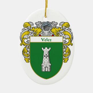 Escudo de armas de Velez/escudo de la familia Adorno Navideño Ovalado De Cerámica