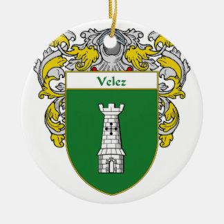 Escudo de armas de Velez/escudo de la familia Adorno Navideño Redondo De Cerámica