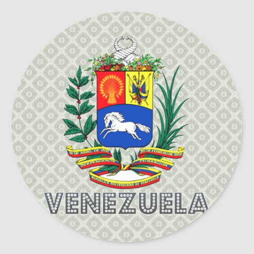 Escudo de armas de Venezuela Pegatina Redonda
