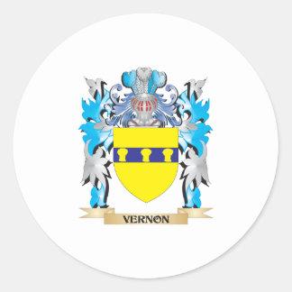 Escudo de armas de Vernon - escudo de la familia Pegatina Redonda