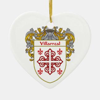 Escudo de armas de Villarreal/escudo de la familia Adorno Navideño De Cerámica En Forma De Corazón