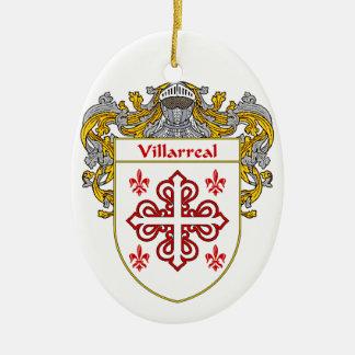 Escudo de armas de Villarreal/escudo de la familia Adorno Navideño Ovalado De Cerámica