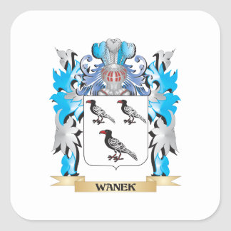 Escudo de armas de Wanek - escudo de la familia Pegatina Cuadrada